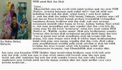 kebaikan vivix shaklee