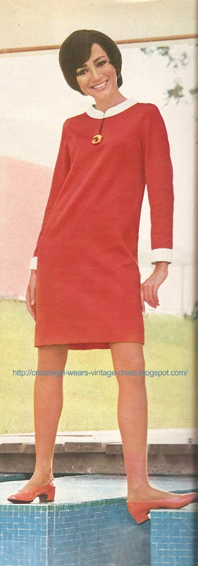 dress red white 60s 1960 I.D chez Vog  1967