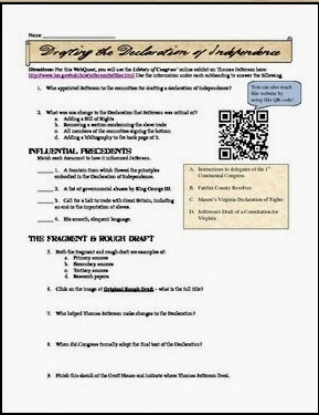 Declaration of independence student worksheet answers