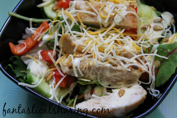 Nutty Cheesy Salad | A fabulous light dinner with lots of veggies and grilled chicken and NUTS! #salad #recipe