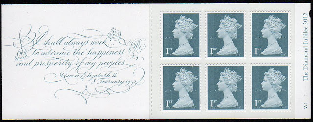 Retail booklet og 6 x 1st class jubilee definitives issued 1 October 2012.