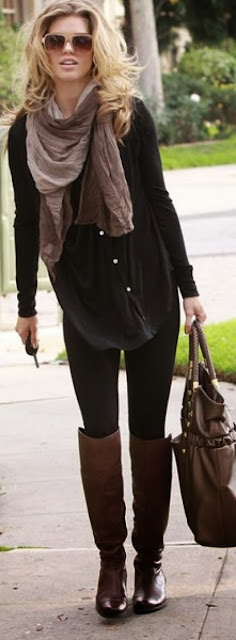 New casual fall street style with grey and black