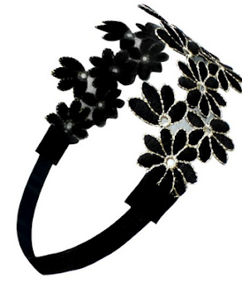 Vintage Styled Headband With Gold Tone Thread Flower Style and Stretchable Features