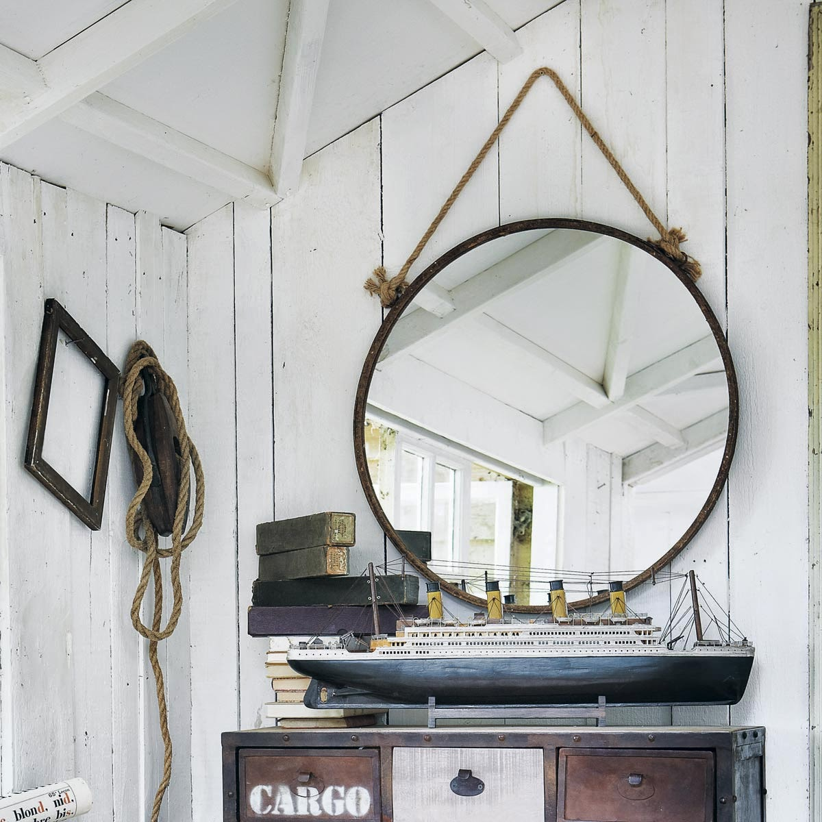 espejo redondo con cordón marinero de maison du monde