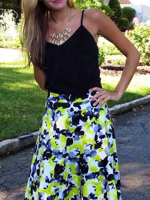 francesca's black & yellow midi skirt