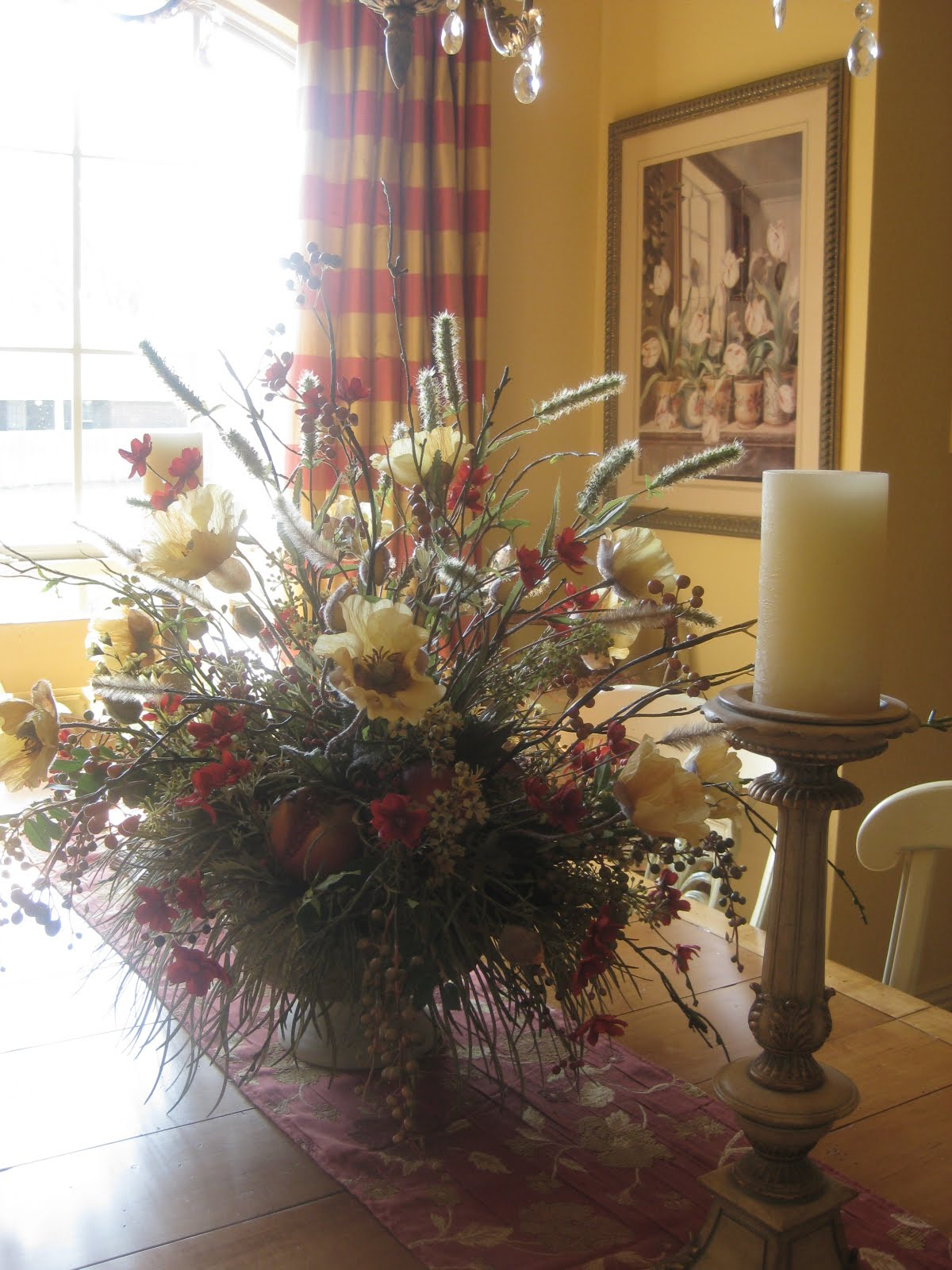 Dining room flower arrangements awesome dining room table for Dining room table arrangements