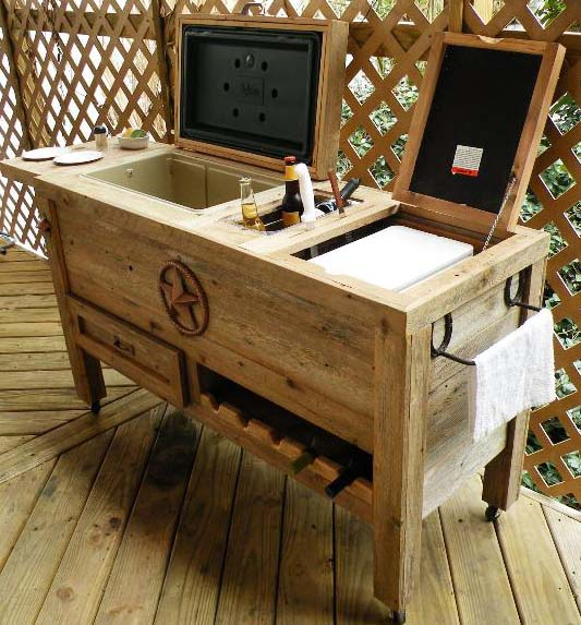 "NEW ""SUPER DUPER"" Hand-Made, Weathered Wood Outdoor Ice Chest With"