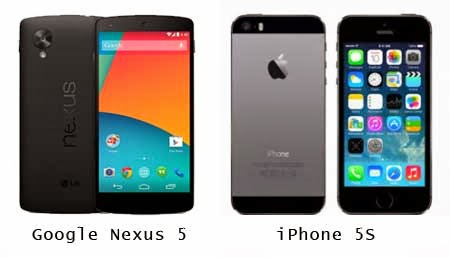 smartphone nexus 5 vs iPhone 5S