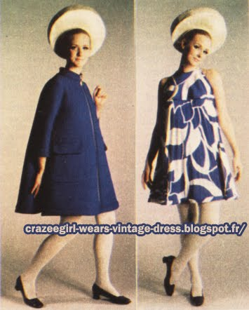 Dress and coat - Pierre Cardin - 1967 60s 1960 mod