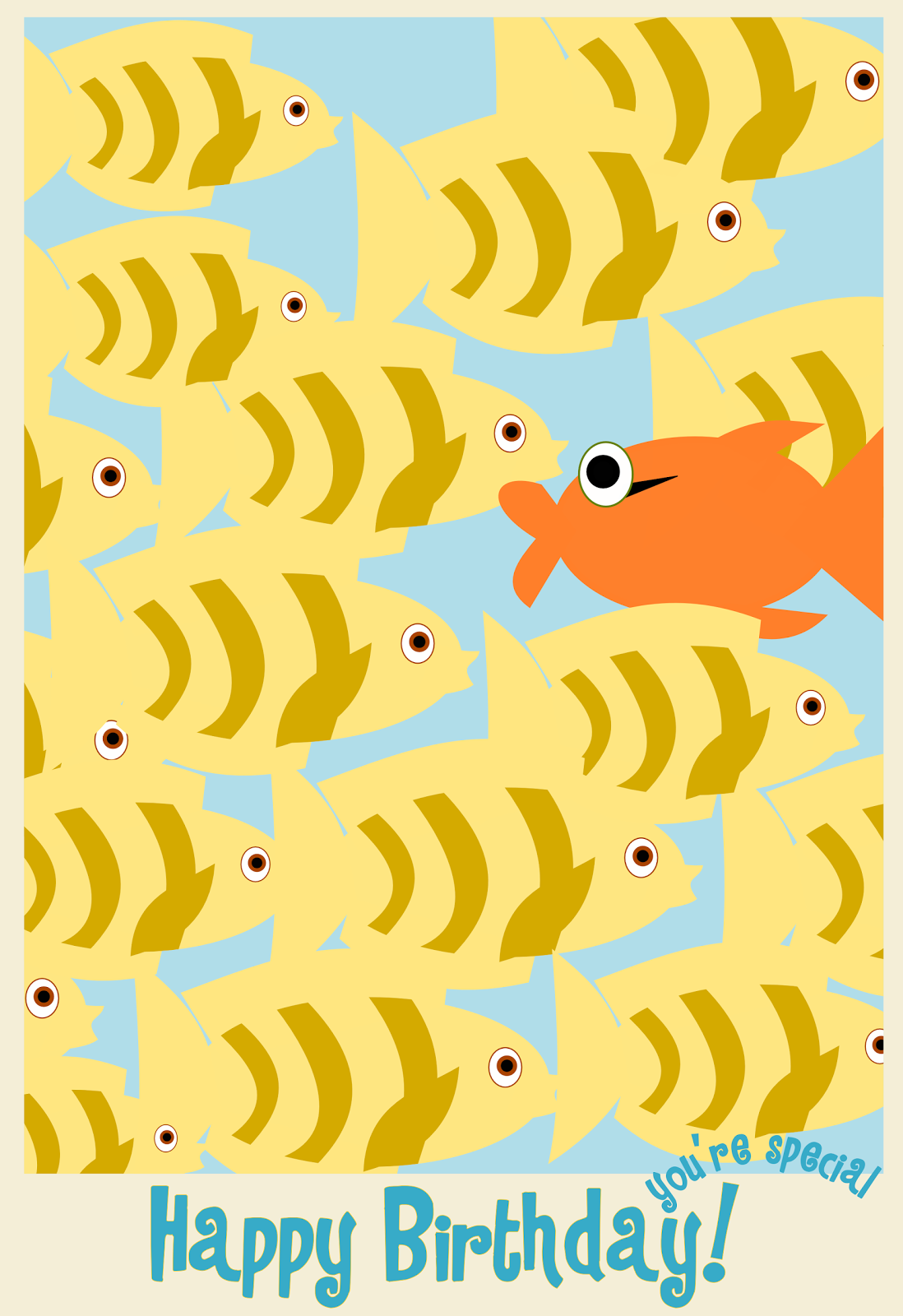 fish happy birthday card