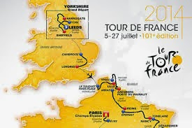 Map in yellow with route marked out in black Tour de France and dates in french logo