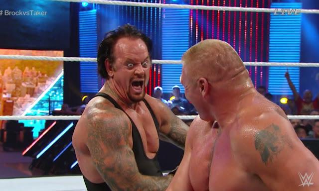 Undertaker, Brock Lesnar, Summer Slam, SummerSlam, WWE, 2015, Laugh, Funny, Evil, Creepy, Photo, Video, laughter, match