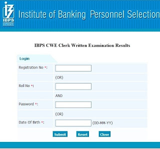 IBPS Common Written Exam (CWE) clerk Written Exam Results 2012