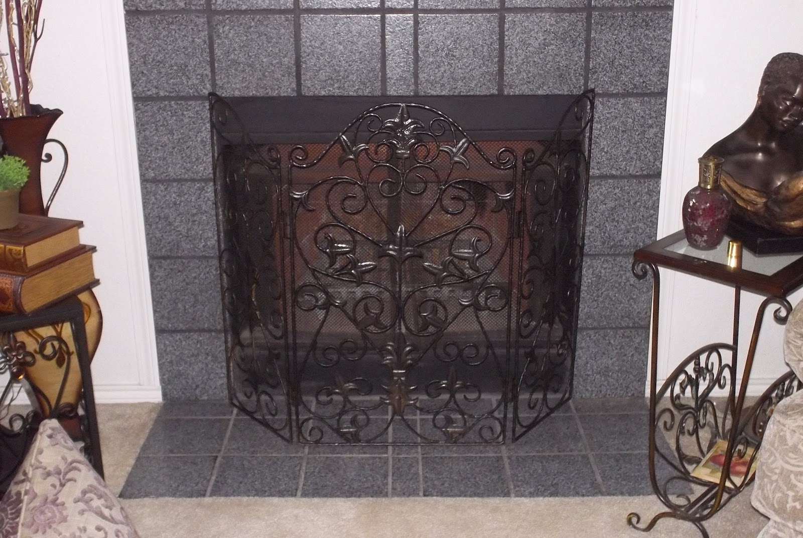little bitty damn houze fireplace screen repainted today