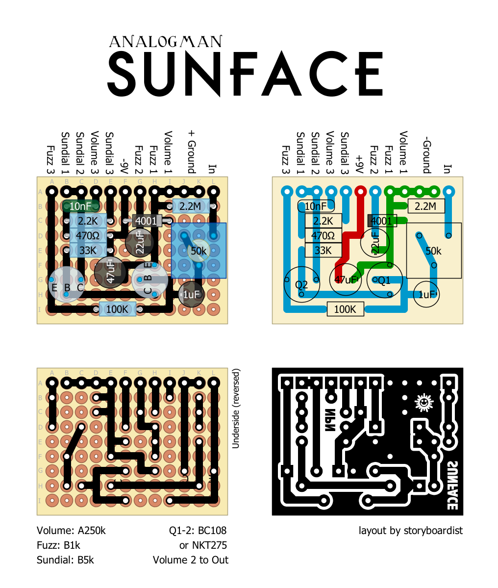 analogman sunface fuzz schematic: Perf and pcb effects layouts analogman sunface