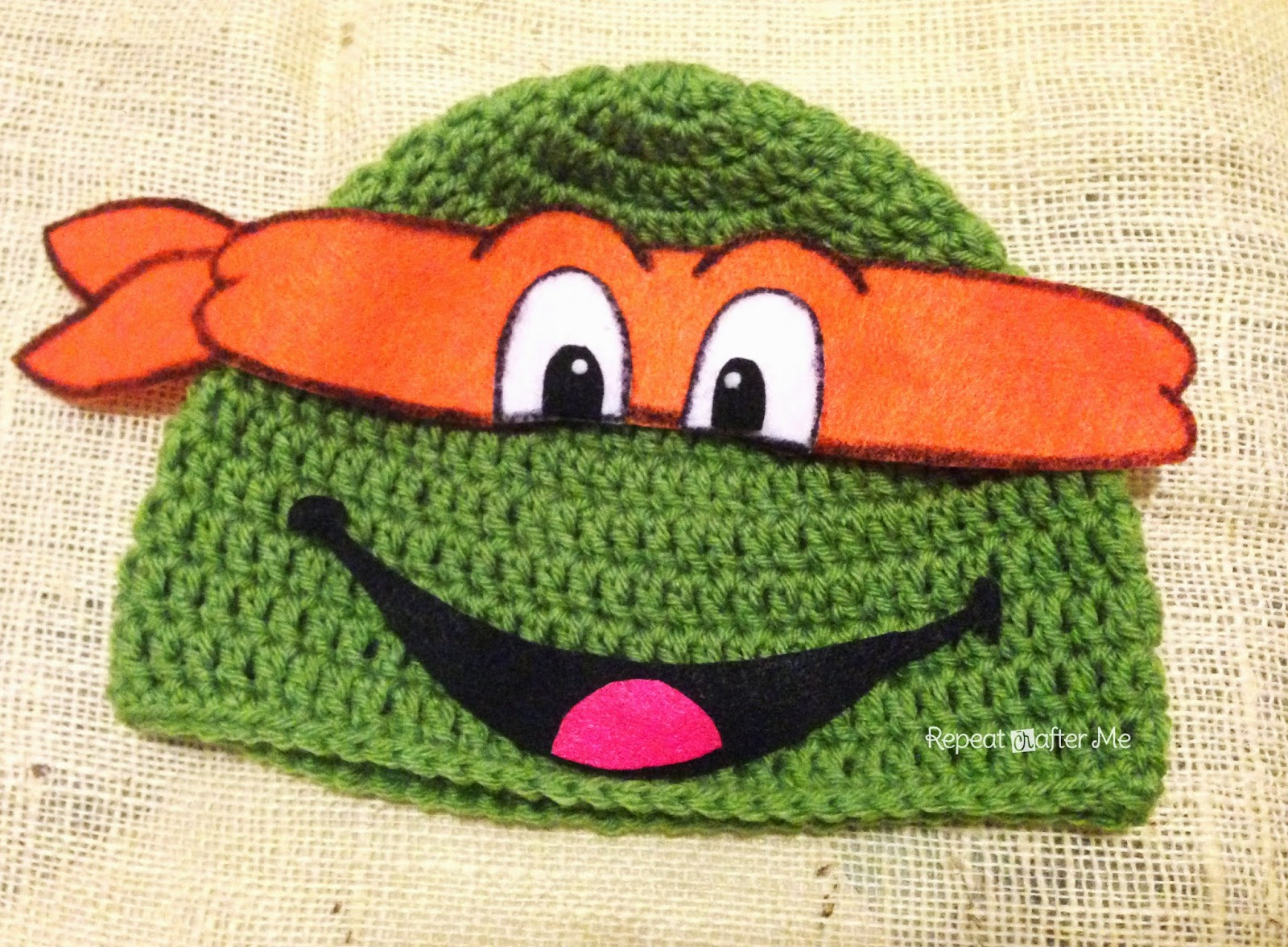 Free Crochet Pattern For Ninja Hat : Repeat Crafter Me: Crochet Ninja Turtle Hat Pattern
