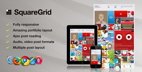 Download SquareGrid V3.0 - Themeforest Fully Responsive Theme For ...