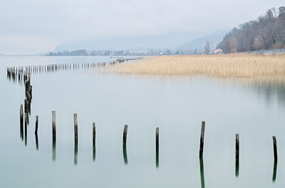 Winter morning on Bourget lake in Savoie