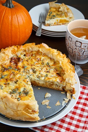 Roasted Pumpkin Quiche with Caramelized Onions, Gorgonzola and Sage
