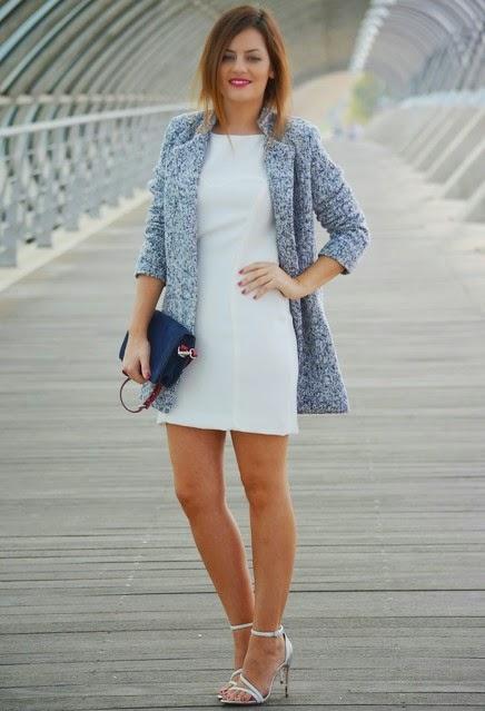 Combinar un vestido blanco en invierno