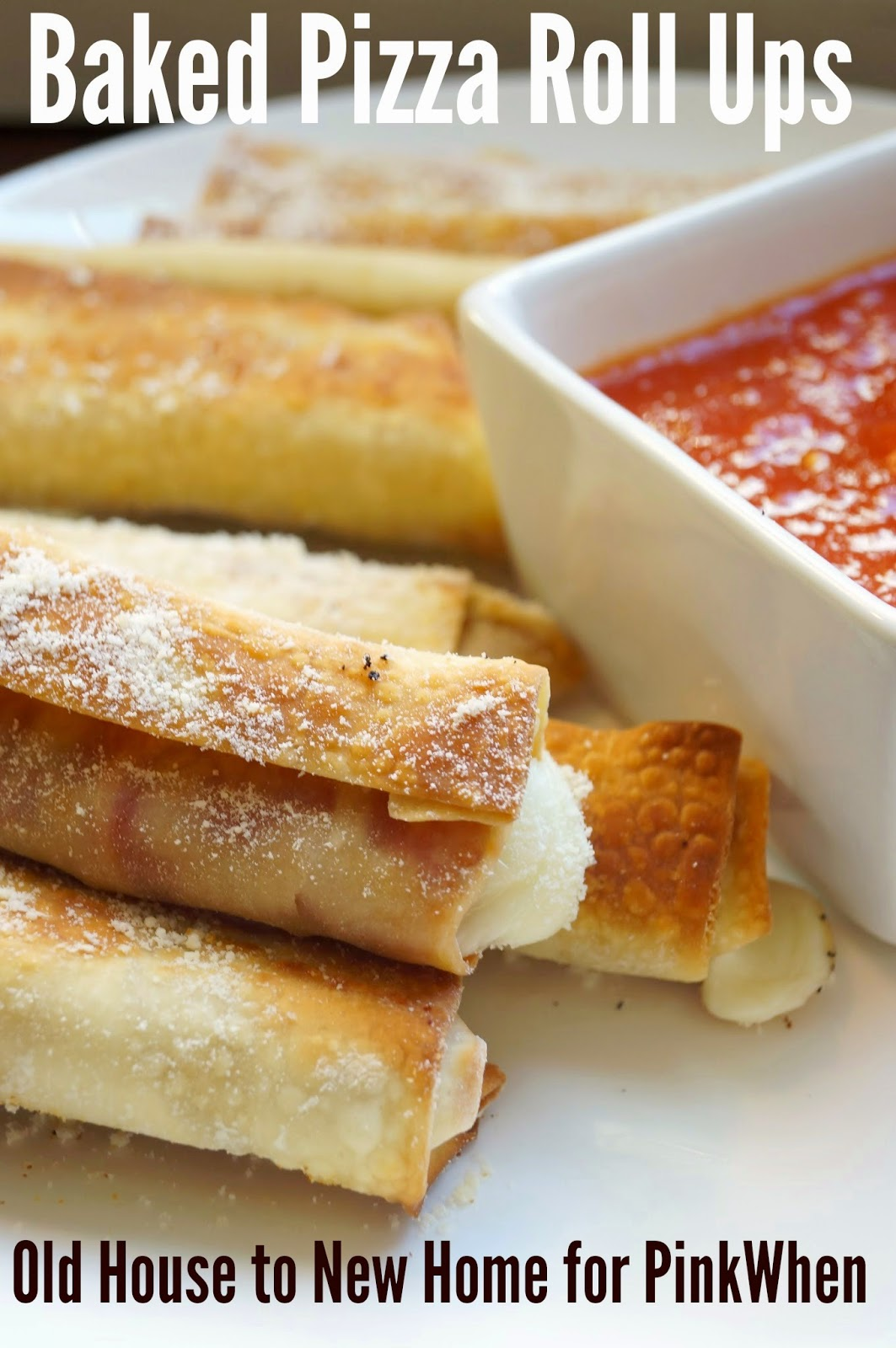Baked Pizza Roll Ups with Mozzarella and Pepperoni!