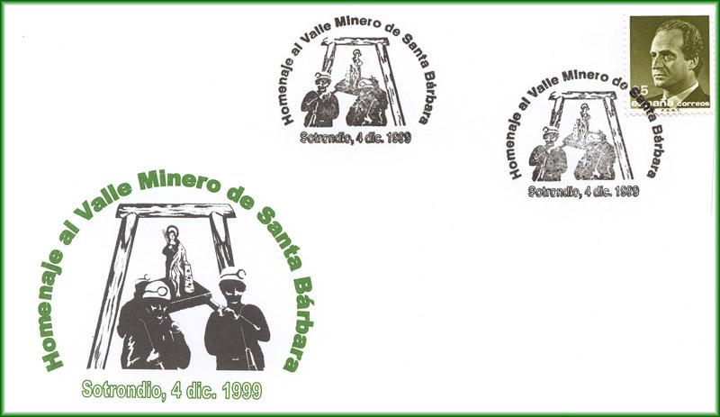 Matasellos Grucomi Sotrondio, homenaje al valle minero Santa Bárbara