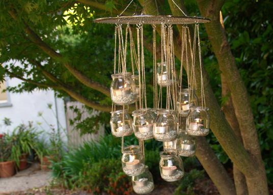 Diy outdoor chandelier pin it spotted over on diy weddings