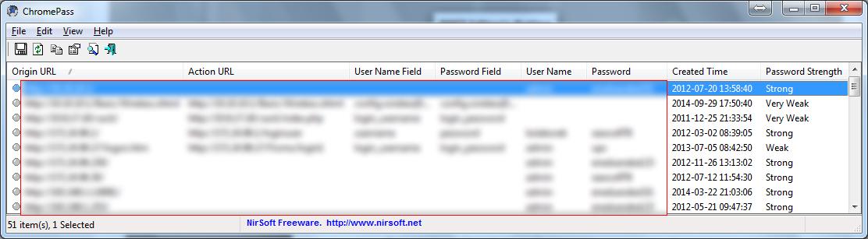 """ChromePass w akcji. Dane """"wrażliwe"""" pozwoliłem sobie zamazać :)"""