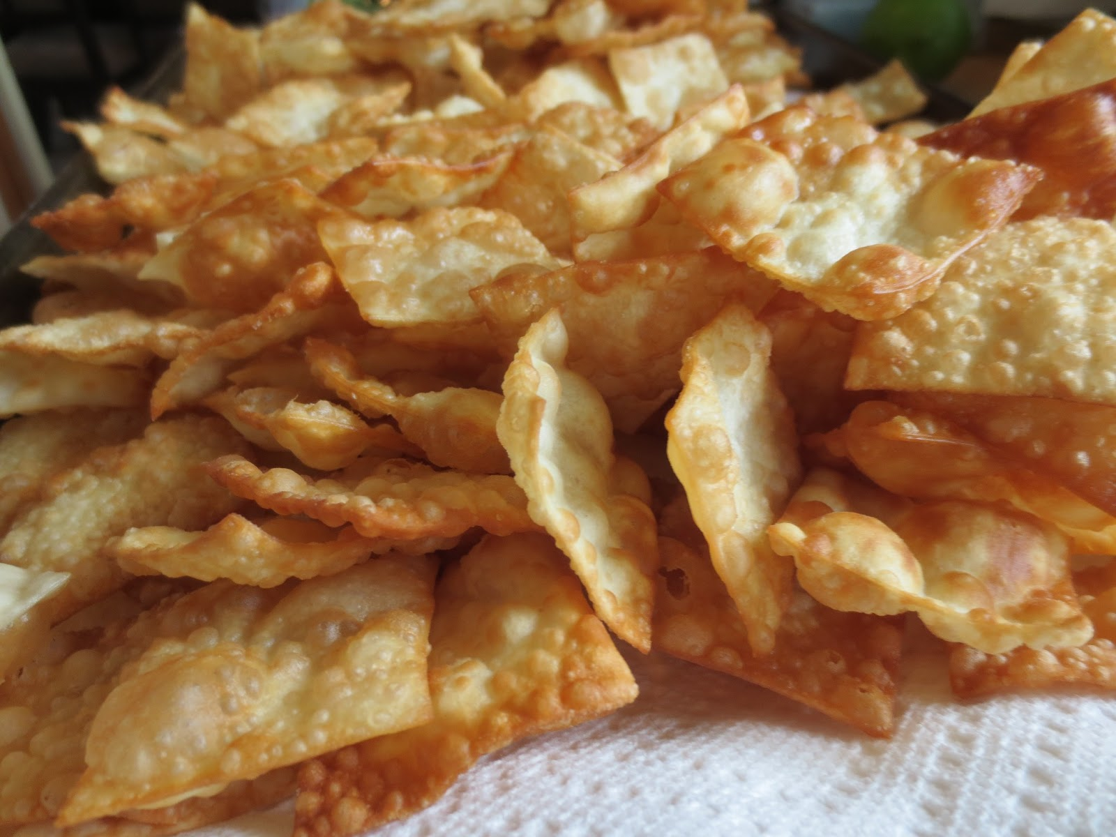 Fried Wonton Chips The owl with the goblet: crab dip with wonton chips