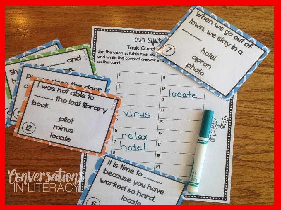 Open Syllable Multisyllabic Word Activities