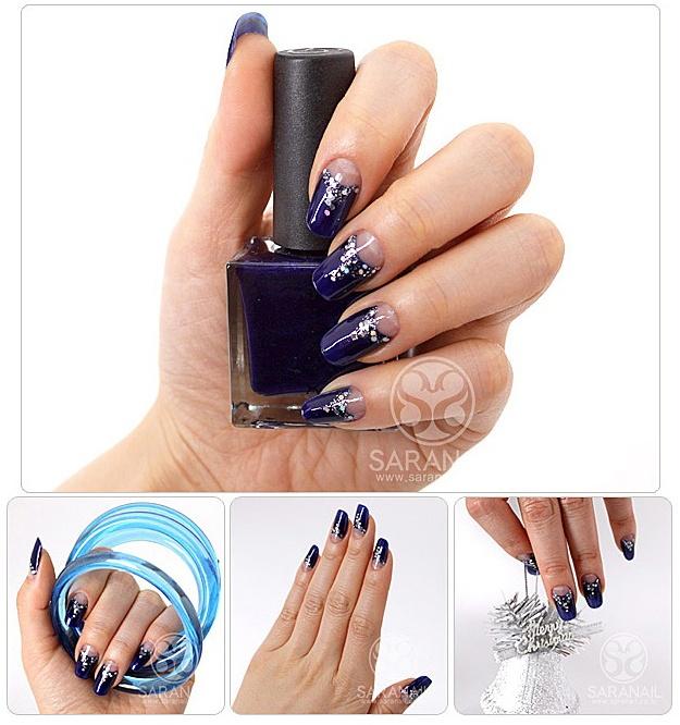 SARA NAIL: French Nail with Deep Blue Color, Yuna Kim, Yuna Kim Nail