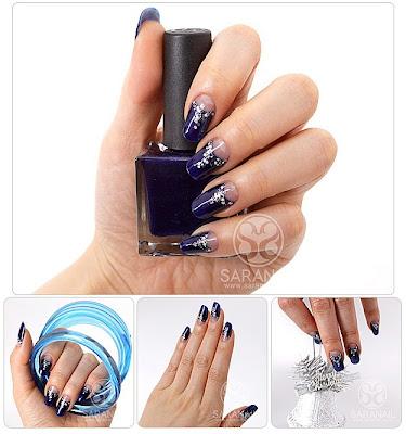 French Nail with Deep Blue Color, Yuna Kim, Yuna Kim Nail