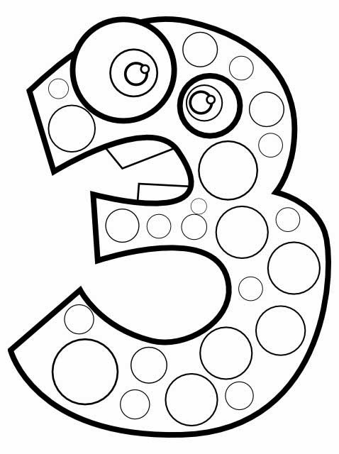 kids page animal number 3 three coloring page