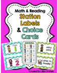 http://www.teacherspayteachers.com/Product/Math-and-Literacy-Station-Labels-and-Choice-Cards-Blue-Green-Polka-Dots-802301