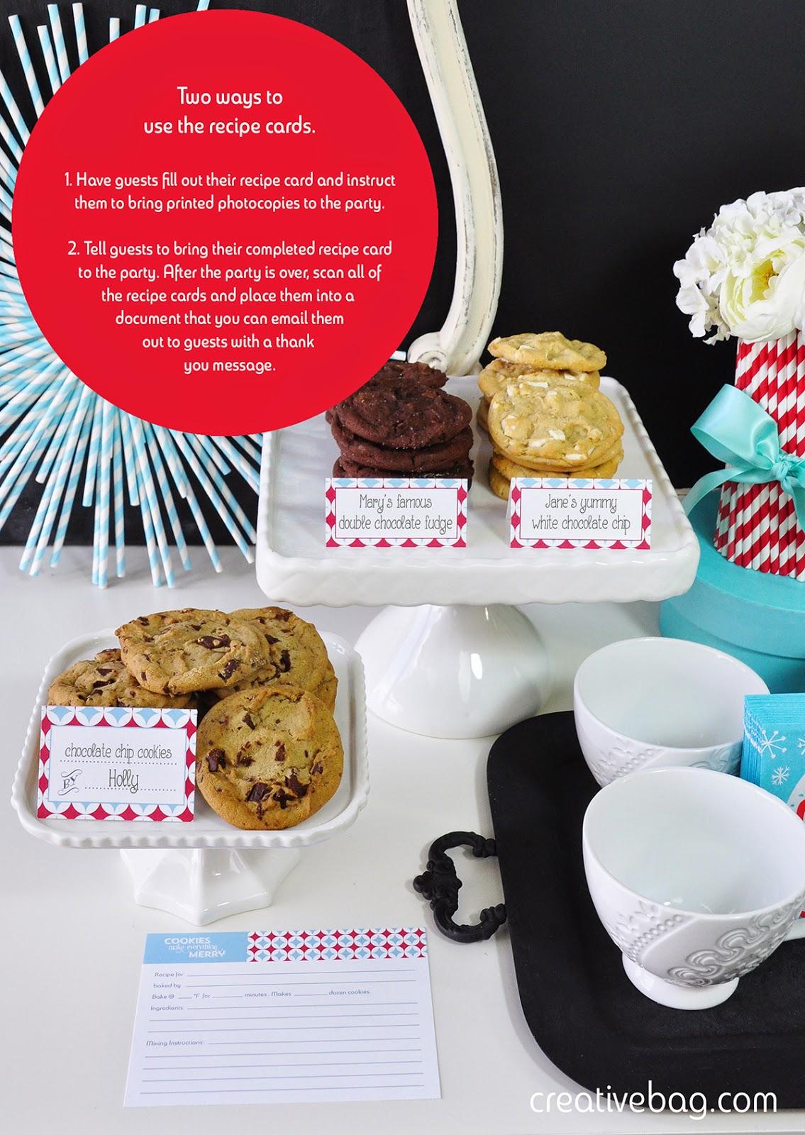 host a cookie swap party + free printables | creativebag.com