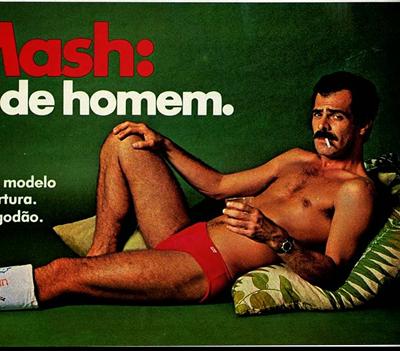 Propaganda das Cuecas Mash com homem viril