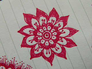 flower doodle in red