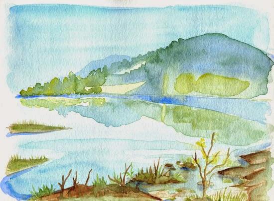 Aquarelle représentant un lac