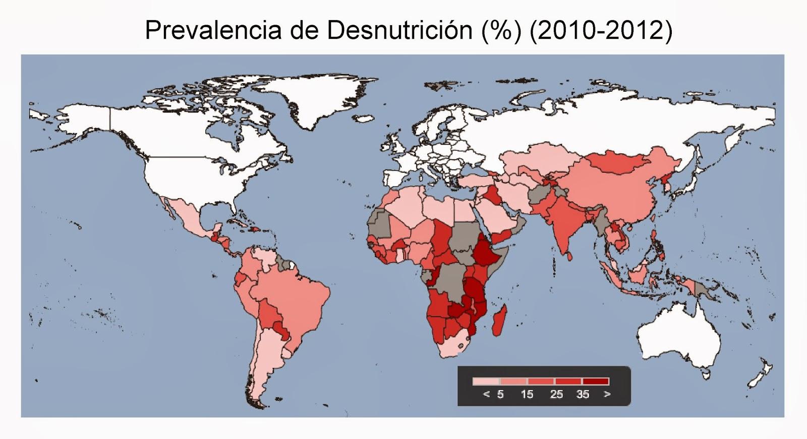 Mapa mundi con la incidencia de la desnutrición por países