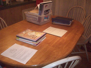Homeschool - Having all our books and materials laid out the night before makes for a smoother morning!