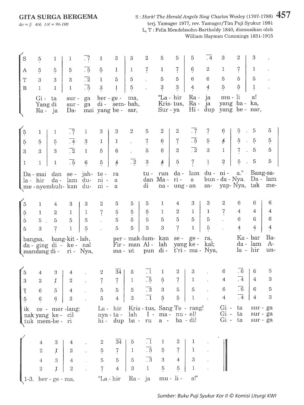 Lirik dan Chord Lagu Gita Surga Bergema - PS. 457 - Madah ...