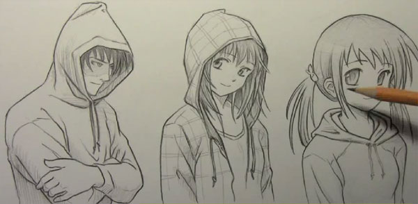 Imagens   172   172 How To Draw Anime Girl With Hoodie