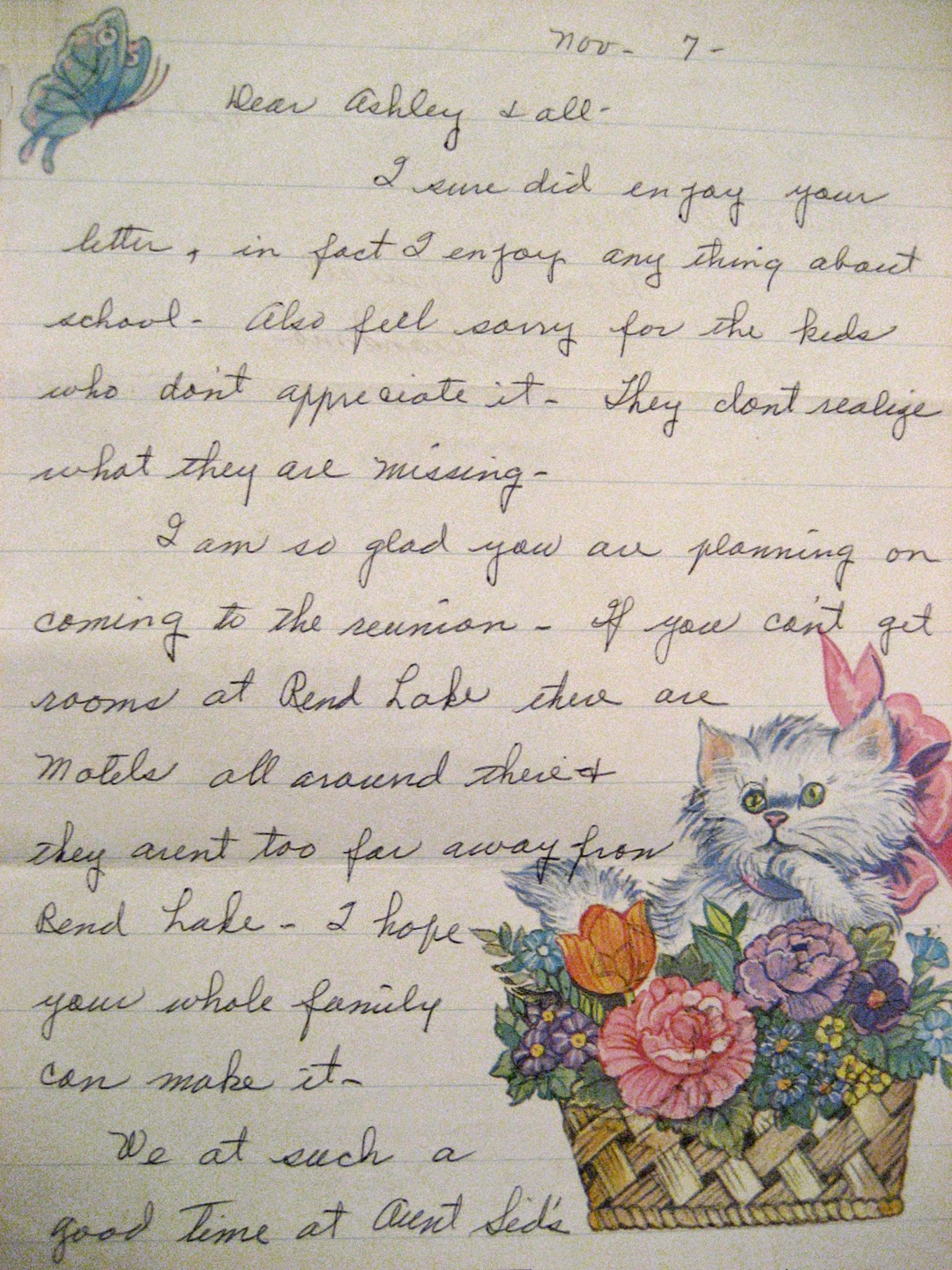 Letter from Hazel Tober, received in college. She was my regular pen pal.