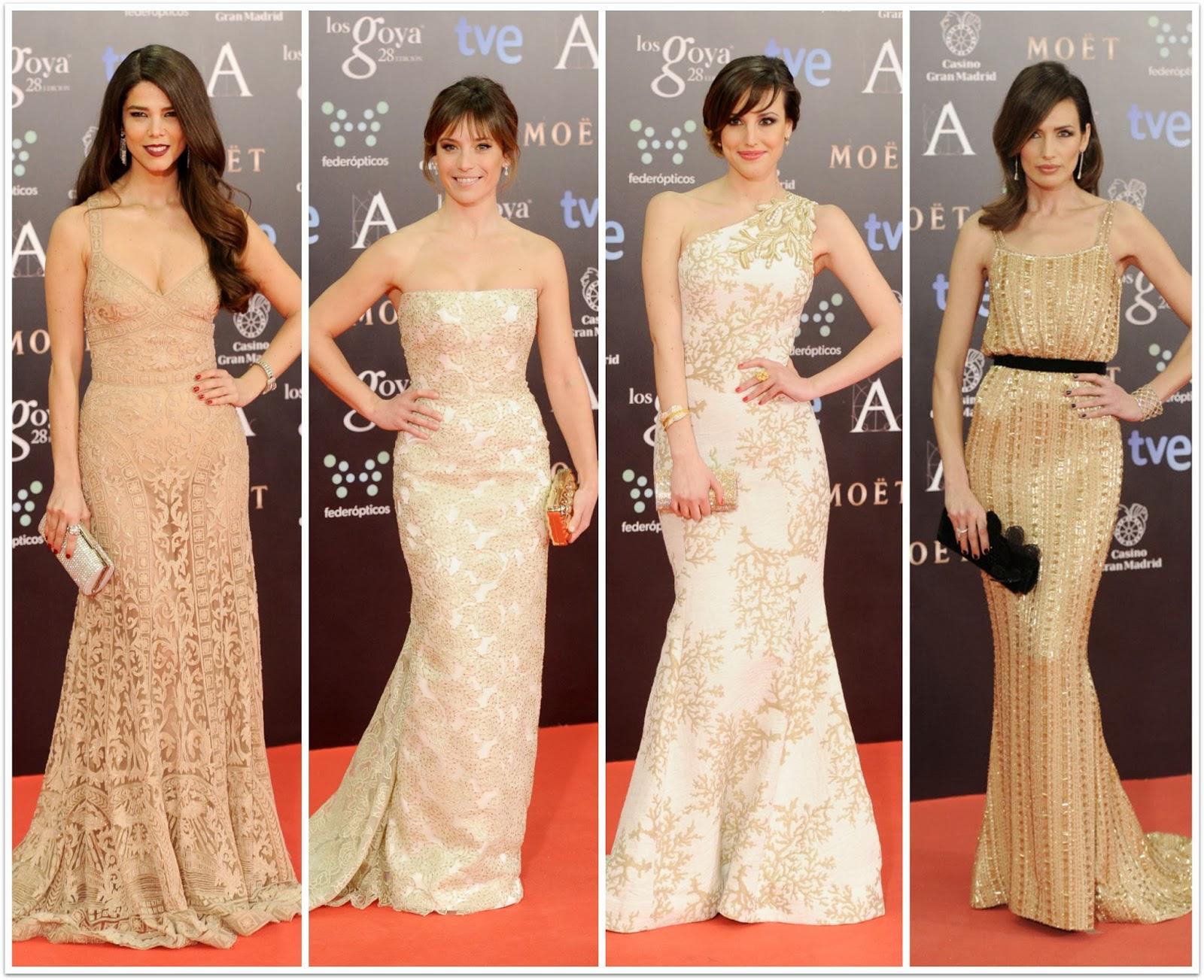 Blanco dorado brillo Los Goya 28 - 2014 - Juana Acosta, Marta Etura, Natalia de Molina, Nieves Álvarez