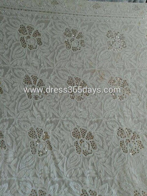 Mukesh work with Lucknow Chikankari Embroidery Kurti Dress Material