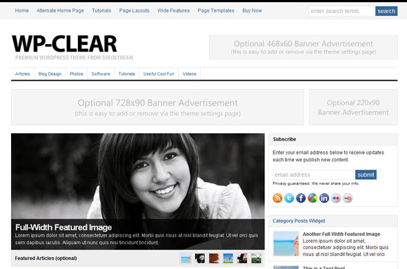 WP-Clear 2.0 Magazine Wordpress Theme Free Download by Solostream.