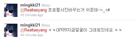 Τwitter update Mingki+reply