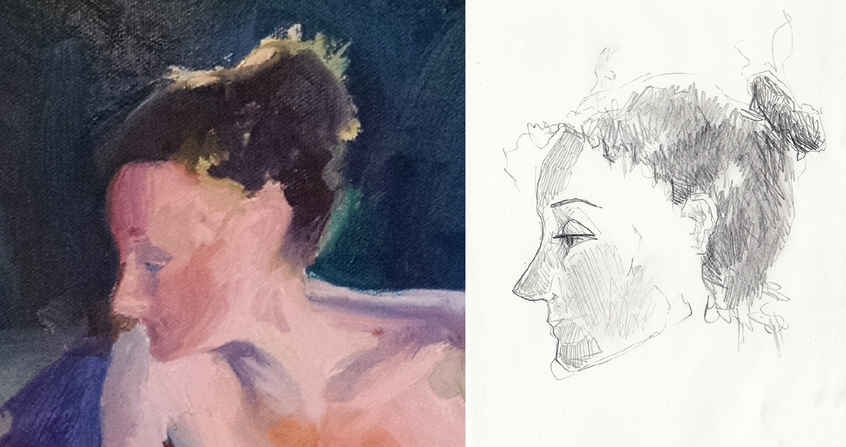 (LEFT) Detail of Oil Painting (from Life Painting Class with Michael Miller) AND (RIGHT) Same Model Drawn from Memory\