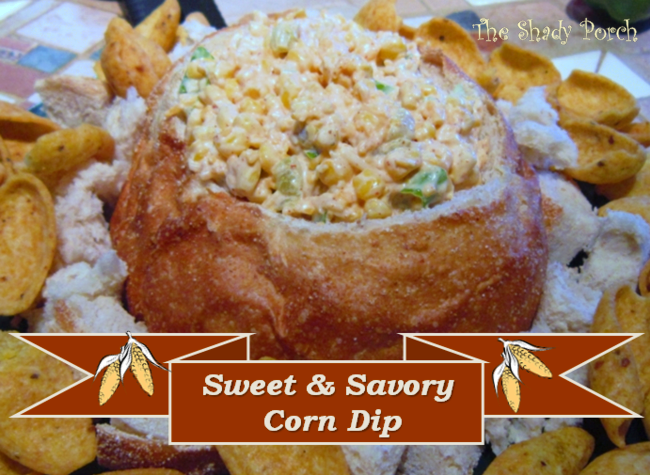 Sweet and Savory Corn Dip in a bread bowl