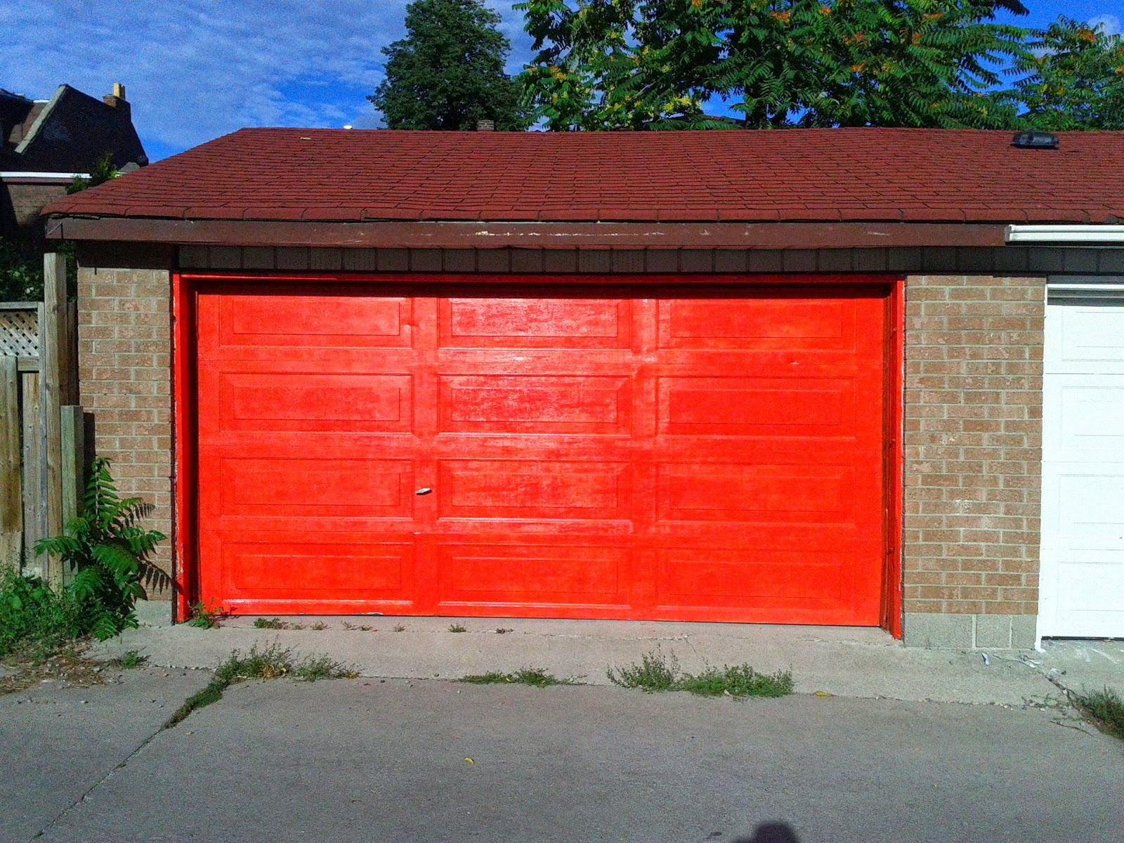 Stock photo: Orange garage door